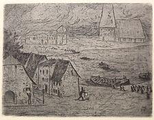 Karl Hofer Originalradierung - Nächtliche Überfahrt 1906 - Grafik, Ansichten xz