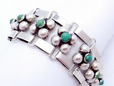 Vintage Taxco Mexican Mexico Sterling Silver Turquoise Bubble Bracelet 20035