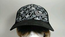 Converse Black Baseball Hat Cap Silver & Gray Stars Embroidery
