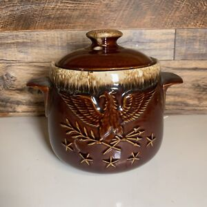 Brown Drip Bean Pot With Lid 2 Quart Hull Pottery Oven Proof USA Cookie Jar