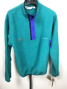 NWT! Mens Vintage Columbia Fleece Snap T Pullover SZ TALL LARGE Solid Teal RARE!
