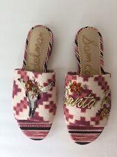 fec90fc8bdaf Sam Edelman Maroon Red Bling Open Toe Mule Sandals Slides Slip On Flats Sz  6 NEW