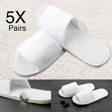 5 Pares Blanco Abrir /Cerrado Dedo Polar Fleece Del Pie Zapatillas Hotel Zapatos