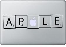 Apple Scrabble Tiles Mac vinyl sticker for MacBook laptops. Black decal