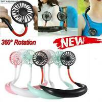 Portable USB Rechargeable Neckband Dual Cooling Mini Neck Hanging Lazy Fan U3D0
