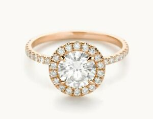 1.50 Ct Moissanite Round Cut Rose Gold Anniversary Ring 18K Solitaire Girl ring