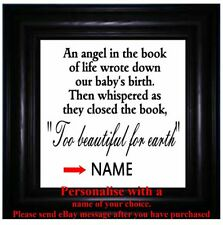 Vinyl Sticker 20 x 20cm Baby Memory Poem - An Angel in the book of Life - QUOTE