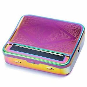 Rainbow Purple Cigarette Roller Rolling Machine Tin Box UK SUPPLIER Tobacco