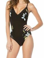 La Blanca Womens Swimwear Black Size 10 Lace Up Floral V-Neck One-Piece $125 417