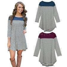 3/4 Sleeve Shirt Striped Dresses for Women