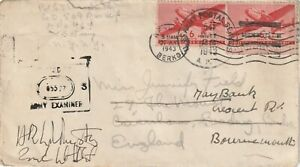1943 USA field post cover sent to Bournemouth via Reading England