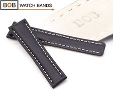 - BOB KALBLEDERUHRBAND kompatibel mit Breitling -Faltschließe SCHWARZ 22-20 mm