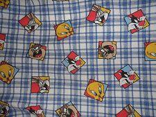 Vintage Looney Tunes Twin Flat Sheet Tweety Taz Sylvester Bugs Bunny 1995 Bibbs