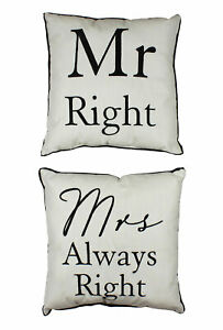 NEW Mr Right Mrs Always Right Wedding Anniversary Gift Filled Cushions Set of 2