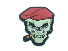 Red Beret Cigar Skull Paintball Airsoft PVC Morale Patch