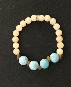 Larimar, Aragonite, & Tiger Eye Stretch Bracelet