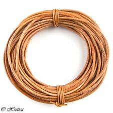 Tan Natural Dye Round Leather Cord 1mm, 10 meters (11 yards)