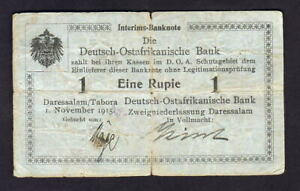 German East Africa.  1915 1 Rupie.. Series A.  Blue-Gray paper - with Bank Stamp