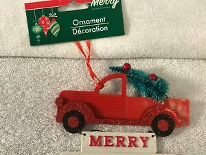 Christmas ornament plastic pick up truck w/tree Sign hanging CH5343