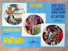 John Wayne HATARI! rare 1962 Italian PHOTO BUSTA / lobby card poster#1 HAWKS