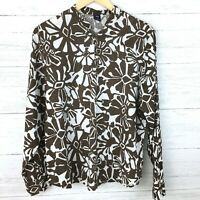 Gap Women's Brown and White Floral Print Top Linen Popover Blouse Lightweight L