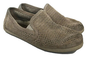 Minnetonka Suede Loafers Tan Beige Eyelet Perforated Slip On 8.5 Flats