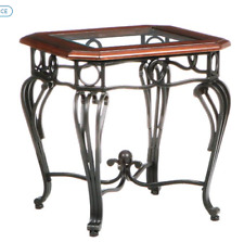 Accent Side End Table Square Glass Top Wood Trim Metal Wrought Iron Legs Cherry