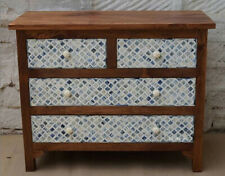 Handmade Bone Inlay Wooden Brown Natural Polish Sideboard Buffets