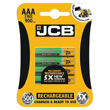 4 x JCB AAA 900mAh Rechargeable Ni-MH Batteries  Pre Charged High Capacity Cells
