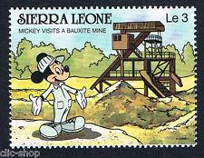 WALT DISNEY 1 FRANCOBOLLO SIERRA LEONE MICKEY MOUSE VISITS A BAUXITE MINE nuovo