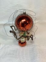 Antique Victorian Glass Hot Air Balloon Wire Wrap Christmas Bulb Ornament c1900
