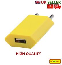 European 2 Pins USB AC Power Adapter EU Plug Wall Charger Mobile phone - Yellow