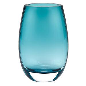 "Badash Crystal Crescendo Peacock Blue European Mouth Blown Oval 7.5"" Vase B11"