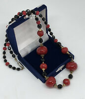 Vintage Necklace Glass & Ceramic Beads Black & Red Collar Length Pretty Costume