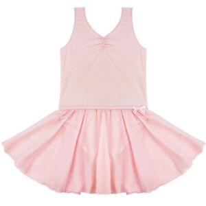 Pink Girls Leotard Dress Kids Dancewears Sleeveless Shiny Tutu Skirt Costumes #S