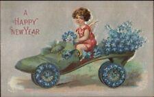 New Year - Cherub Child in Flower Decorated Roller Skate Shoe Postcard