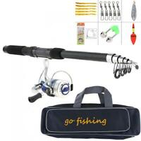 2.1m Fishing Rod Reel Line Combo Full Kits Spinning Reel Pole Set with Bag