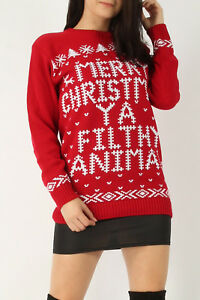 Men Women's Unisex Red Merry Christmas Ya Filthy Animal Knitted Jumper SweatTop