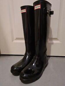 HUNTER ORIGINAL TALL BLACK GLOSS/SHINY BUCKLE WELLIES RAIN BOOTS UK 7 EU 40-41