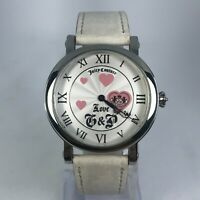 Juicy Couture Womens Love G&P White Leather Band White Pink Dial Wrist Watch