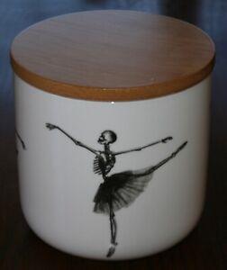 White Porcelain Storage Jar w/Wooden Lid, Dancing Skeleton Art Canister
