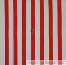 BonEful Fabric Cotton Quilt Red White LARGE Wide STRIPE Cartoon Boy Girl L SCRAP