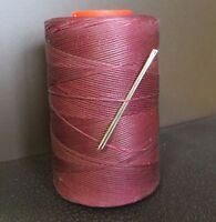 RITZA TIGRE WAXED HAND SEWING THREAD 1mm FOR LEATHER/CANVAS & 2 NEEDLES BEETROOT