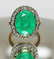 1.15ct ROSE CUT DIAMOND EMERALD ANTIQUE VICTORIAN LOOK 925 SILVER COCKTAIL RING