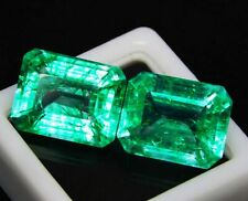 Natural Emerald Loose Gemstone 8 to 10 Cts Each Certified Emerald Shape Pair