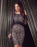 Lipsy Michelle Keegan Lace Sheer Black Wiggle Bodycon Pencil Dress - 12