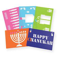Chanukah Stencil Set, 5 Washable Stencils Dreidel, Menorah and more