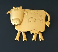 Vintage signed JJ Cow with movable legs Pin brooch in gold matte finish