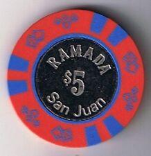 Ramada Hotel $5.00 Coin Center Casino Chip San Juan Puerto Rico