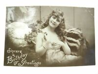 Antique real photograph postcard Birthday Card Pretty lady holding poppies